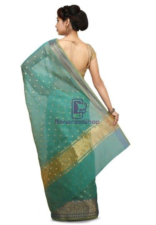 Woven Banarasi Cotton Silk Jacquard Saree in Sky Blue 4