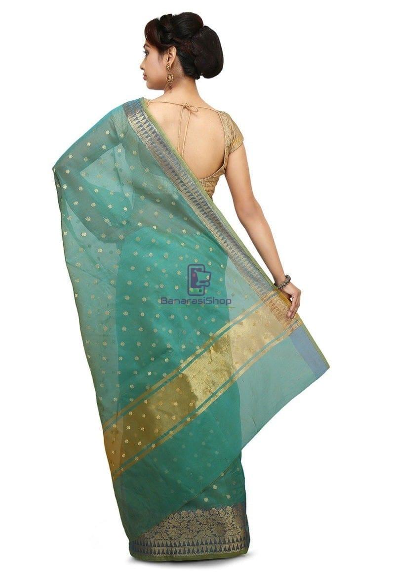 Woven Banarasi Cotton Silk Jacquard Saree in Sky Blue 2