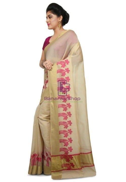 Woven Banarasi Art Silk Saree in Light Beige 4