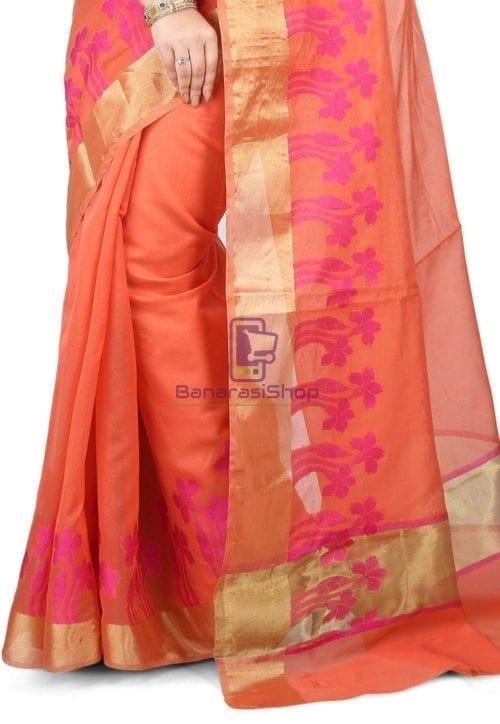 Woven Banarasi Chanderi Silk Saree in Peach 4