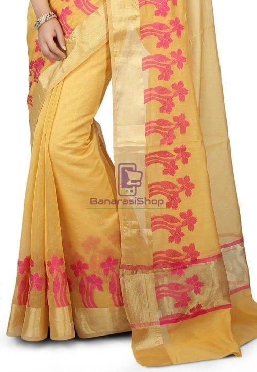 Woven Banarasi Chanderi Silk Saree in Yellow 4