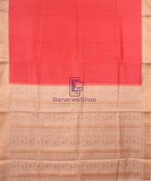 Pure Banarasi Muga Silk Handloom Saree in Saffron 5