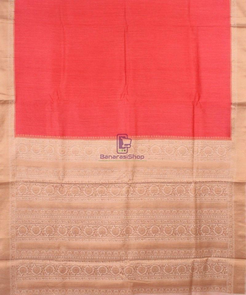 Pure Banarasi Muga Silk Handloom Saree in Saffron 2