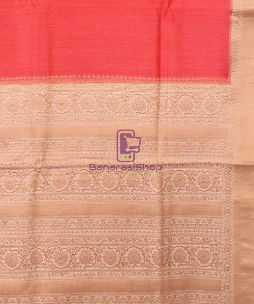 Pure Banarasi Muga Silk Handloom Saree in Saffron 6