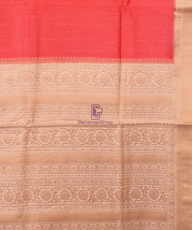 Pure Banarasi Muga Silk Handloom Saree in Saffron 3