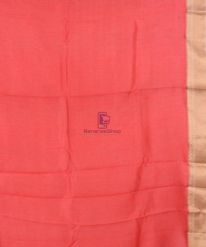 Pure Banarasi Muga Silk Handloom Saree in Saffron 4