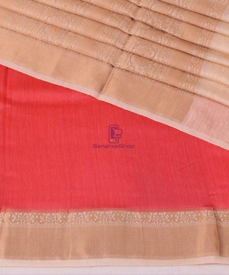 Pure Banarasi Muga Silk Handloom Saree in Saffron 1