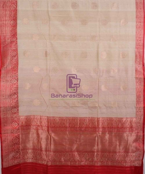Pure Banarasi Tussar Handwoven off white Silk Saree 4