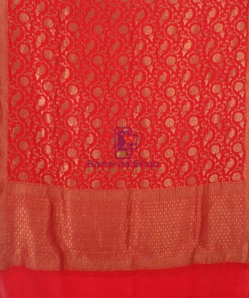 Pure Banarasi Handloom Khaddi Georgette Silk Saree in Red 5