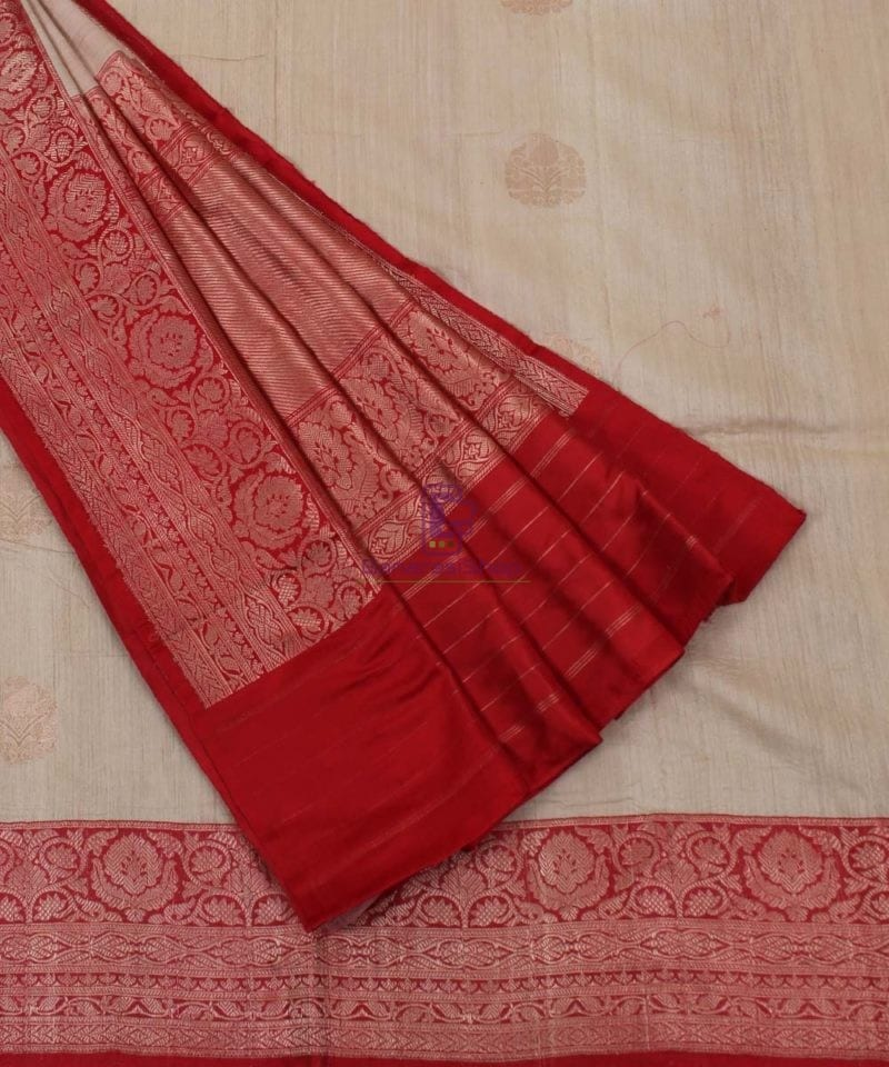 Pure Banarasi Tussar Handwoven off white Silk Saree 1