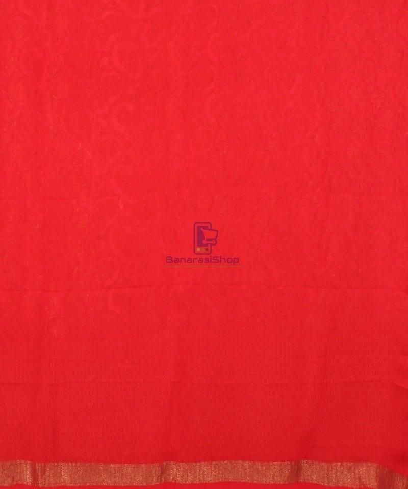 Pure Banarasi Handloom Khaddi Georgette Silk Saree in Red 4