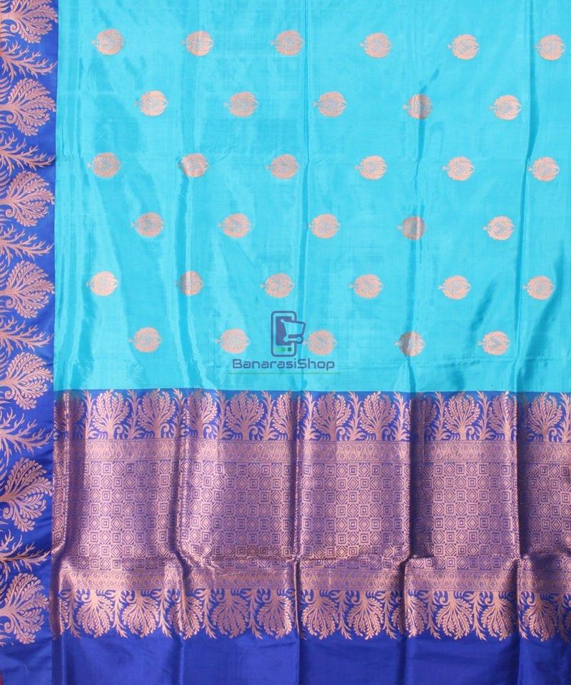 Banarasi Pure Katan Silk Handloom Saree in Sky Blue 2
