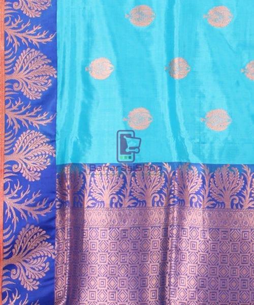 Banarasi Pure Katan Silk Handloom Saree in Sky Blue 6