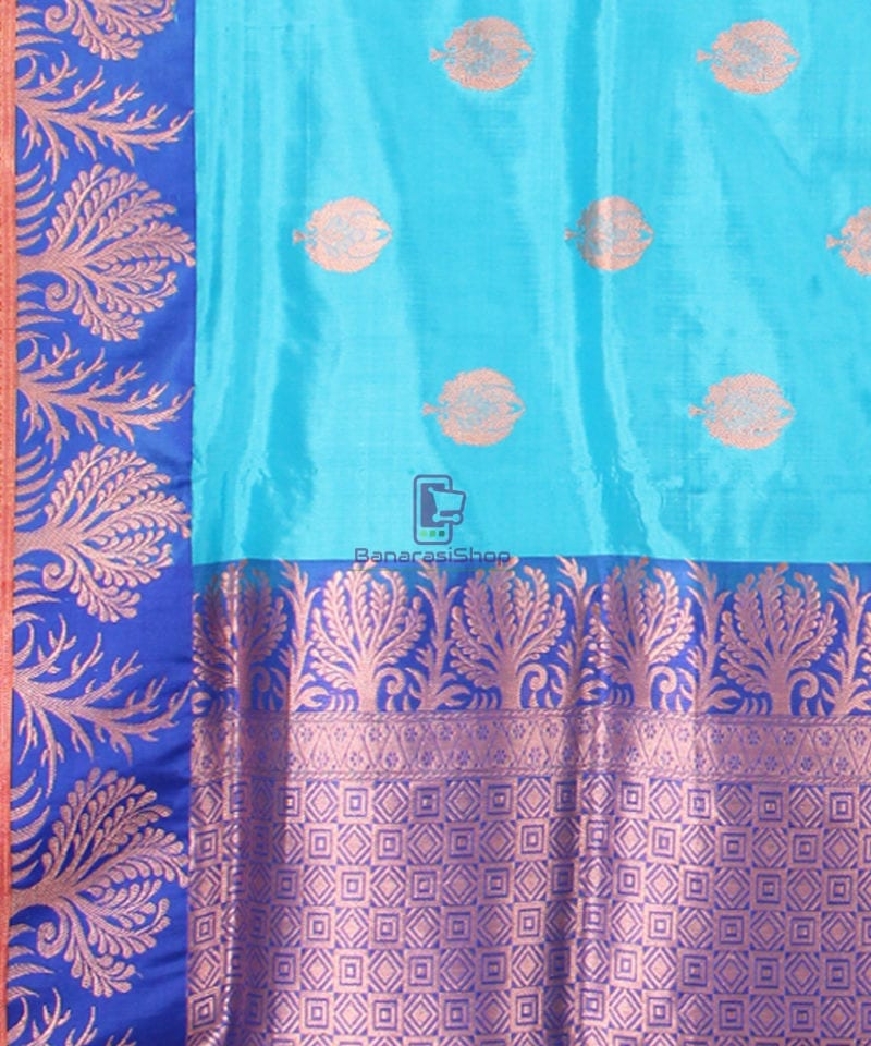Banarasi Pure Katan Silk Handloom Saree in Sky Blue 3