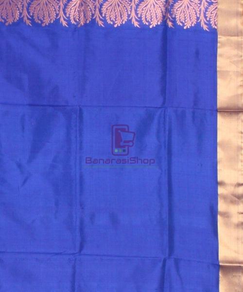 Banarasi Pure Katan Silk Handloom Saree in Sky Blue 7