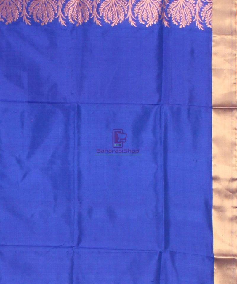 Banarasi Pure Katan Silk Handloom Saree in Sky Blue 4