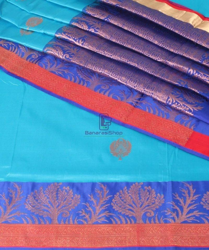 Banarasi Pure Katan Silk Handloom Saree in Sky Blue 1