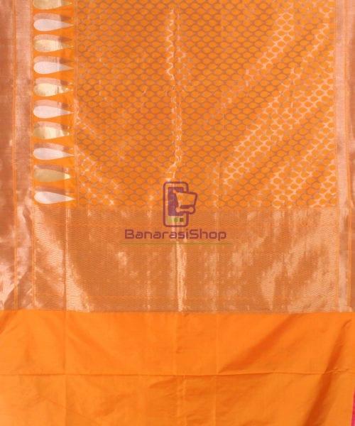 Pure Banarasi Uppada Handloom Silk Saree in Golden Yellow 5
