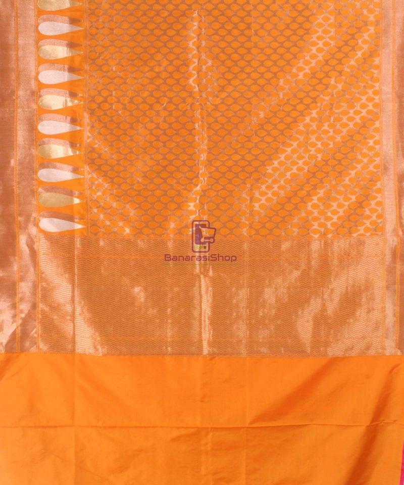 Pure Banarasi Uppada Handloom Silk Saree in Golden Yellow 2