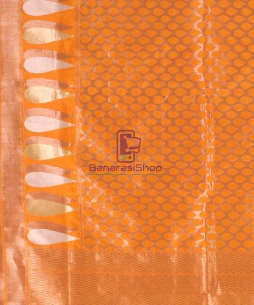 Pure Banarasi Uppada Handloom Silk Saree in Golden Yellow 6