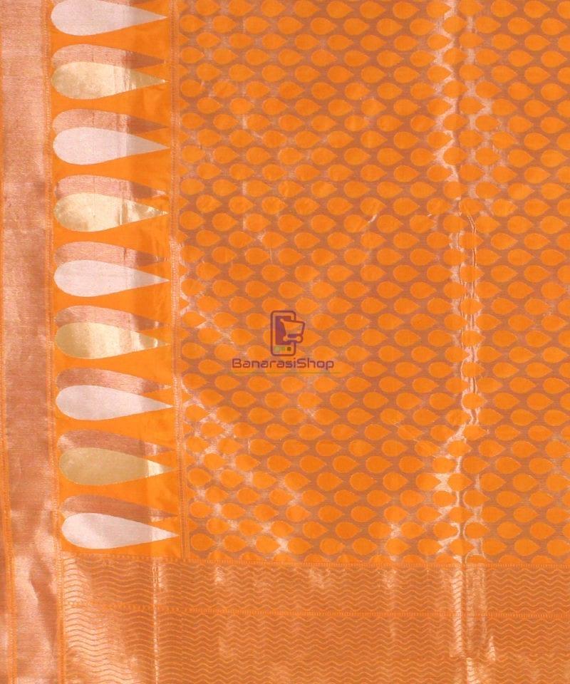 Pure Banarasi Uppada Handloom Silk Saree in Golden Yellow 3