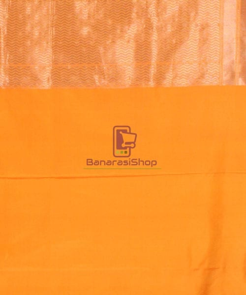 Pure Banarasi Uppada Handloom Silk Saree in Golden Yellow 7