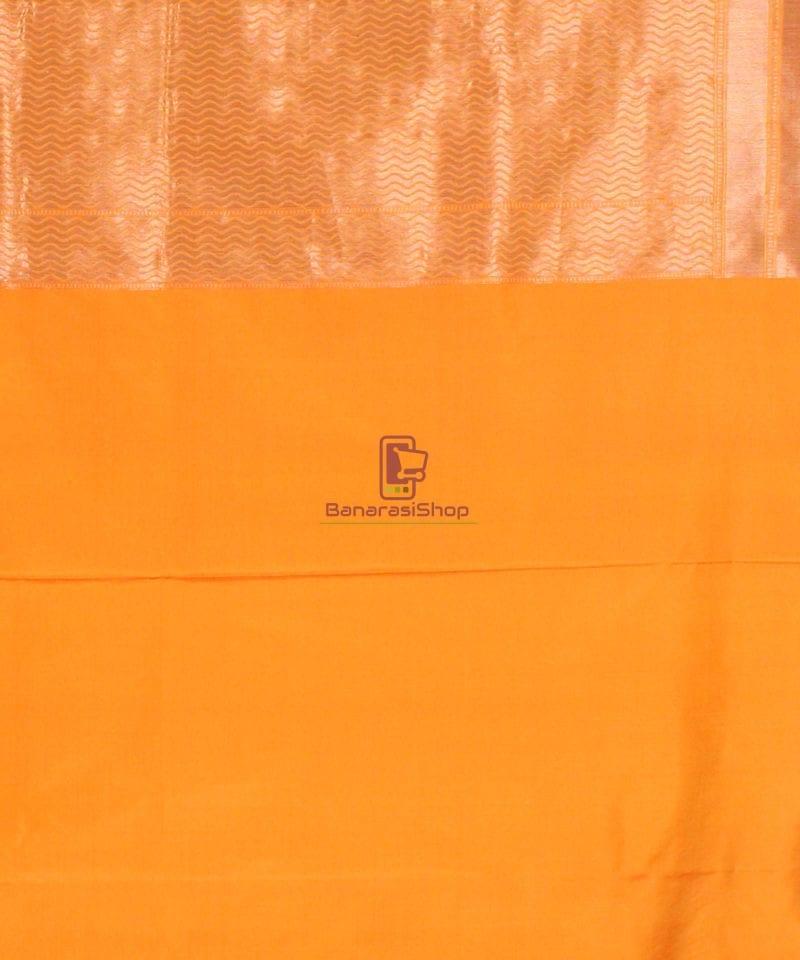 Pure Banarasi Uppada Handloom Silk Saree in Golden Yellow 4
