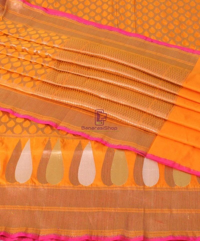 Pure Banarasi Uppada Handloom Silk Saree in Golden Yellow 1