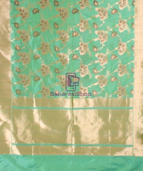 Pure Banarasi Uppada Handloom Silk Saree in Mint Green 5