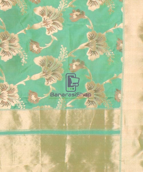 Pure Banarasi Uppada Handloom Silk Saree in Mint Green 6