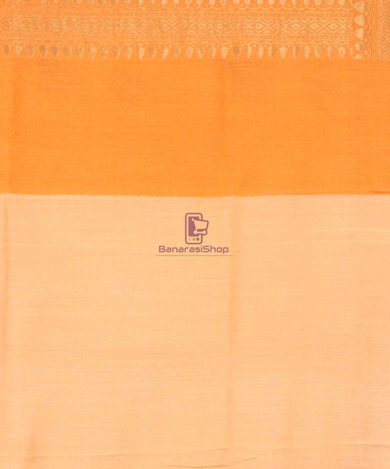 Pure Banarasi Muga Silk Handloom Saree in Cream Golden yellow 4