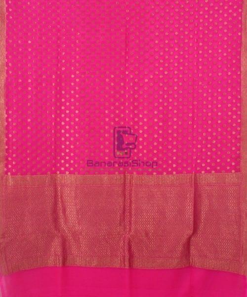 Pure Banarasi Handloom Khaddi Georgette Silk Saree in Pink 4