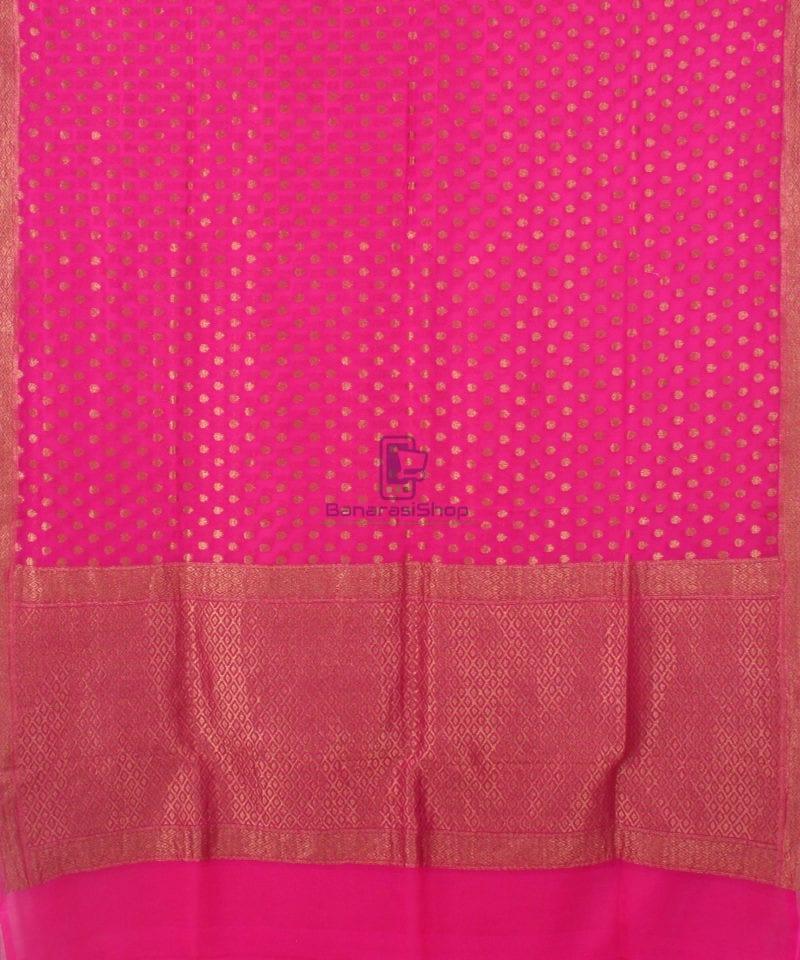 Pure Banarasi Handloom Khaddi Georgette Silk Saree in Pink 2
