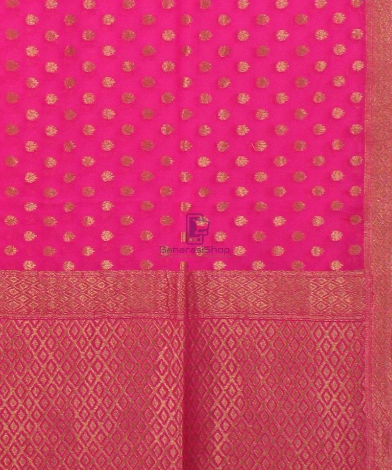 Pure Banarasi Handloom Khaddi Georgette Silk Saree in Pink 3