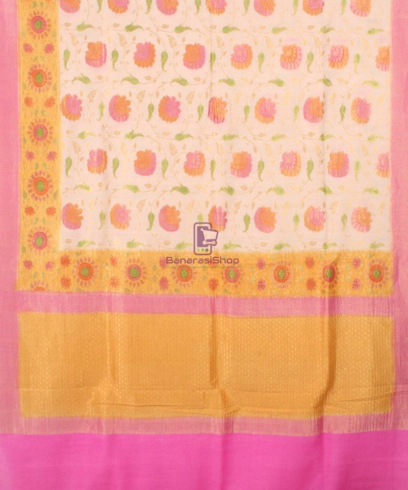 Pure Banarasi Muga Silk Handpainted Jaal Saree in Beige 2