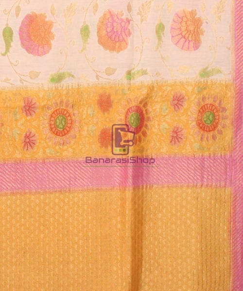 Pure Banarasi Muga Silk Handpainted Jaal Saree in Beige 6