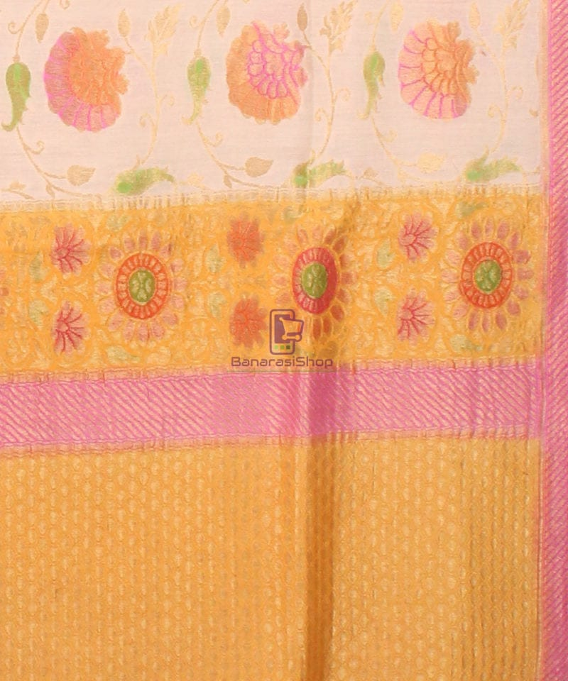 Pure Banarasi Muga Silk Handpainted Jaal Saree in Beige 3