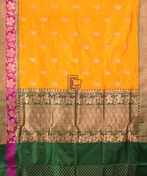 Banarasi Pure Katan Silk Handloom Saree in Yellow Green 5