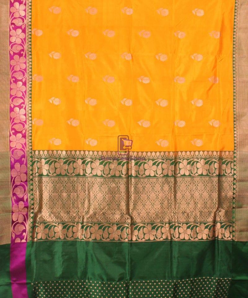 Banarasi Pure Katan Silk Handloom Saree in Yellow Green 2