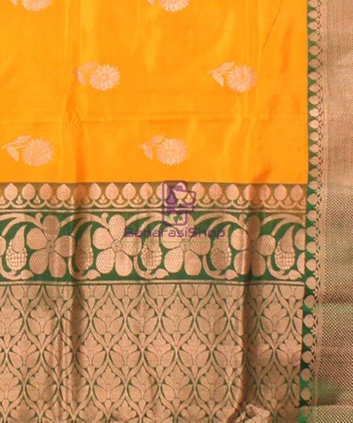 Banarasi Pure Katan Silk Handloom Saree in Yellow Green 6