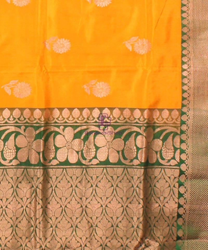 Banarasi Pure Katan Silk Handloom Saree in Yellow Green 3