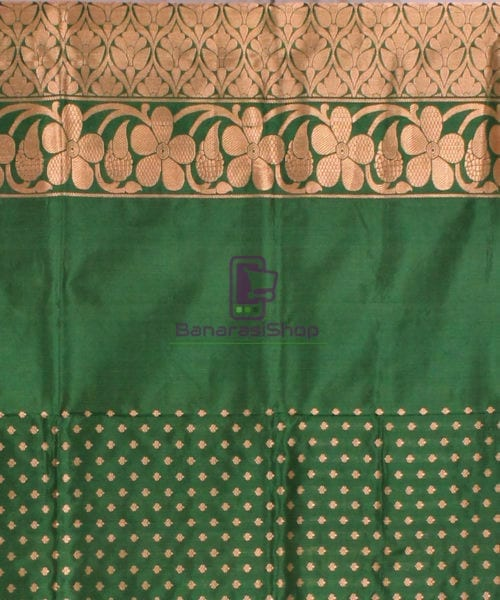 Banarasi Pure Katan Silk Handloom Saree in Yellow Green 7
