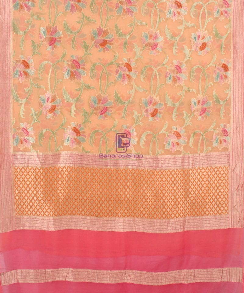 Pure Banarasi Handpainted Khaddi Georgette Silk Saree in Cream 2