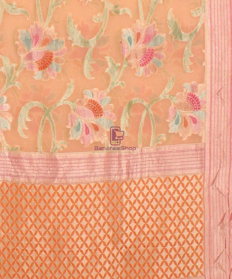 Pure Banarasi Handpainted Khaddi Georgette Silk Saree in Cream 3