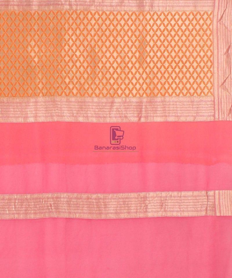 Pure Banarasi Handpainted Khaddi Georgette Silk Saree in Cream 4
