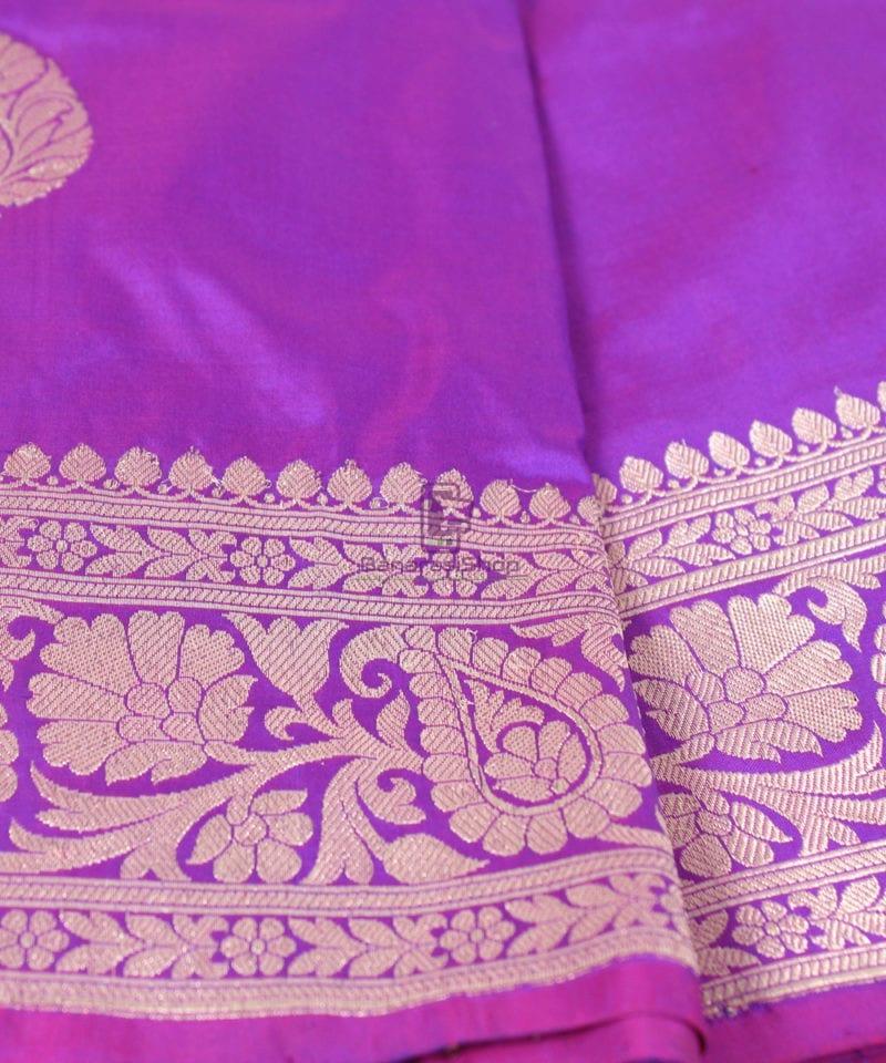 Handwoven Banarasi Katan Pure Silk Saree in Vilot 1