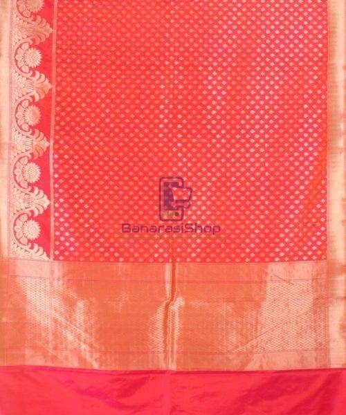 Pure Banarasi Uppada Handloom Silk Saree in Bright Red 5