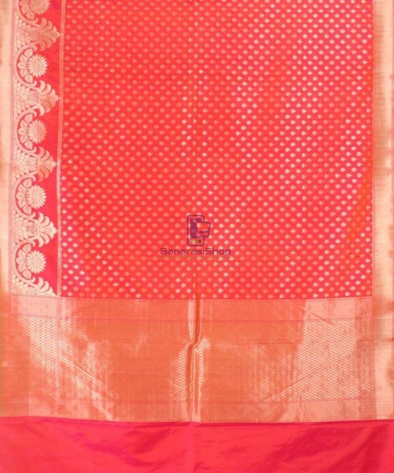 Pure Banarasi Uppada Handloom Silk Saree in Bright Red 2