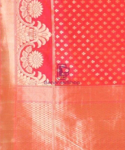 Pure Banarasi Uppada Handloom Silk Saree in Bright Red 6