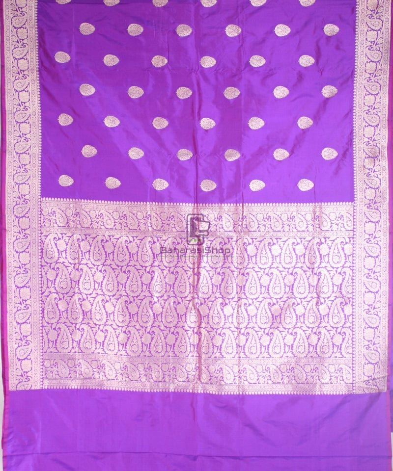 Handwoven Banarasi Katan Pure Silk Saree in Vilot 2